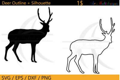 Deer outline svg / deer silhouette outline