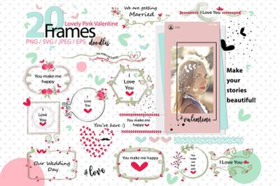 Lovely Pink Valentine Doodle frames