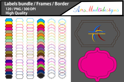 Label frames clipart / frames and borders