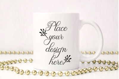 Sublimation coffee mug golden gold party mockup 11 oz cup mockup