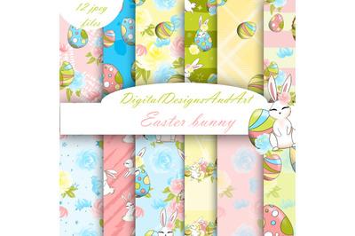 Cute Easter bunny digital paper