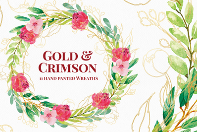 Greenery and Gold Watercolor Floral Wreaths