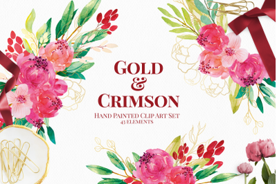 Red and Gold Watercolor Floral Elements