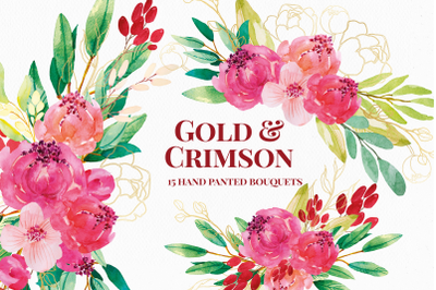 Red and Gold Watercolor Flower Arrangements