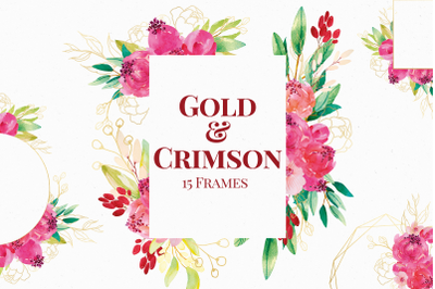Red and Gold Watercolor Floral Frames