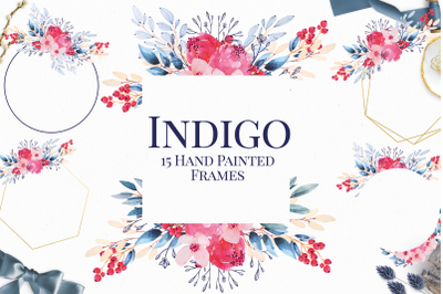 Navy Blue and Gold Watercolor Floral Frames