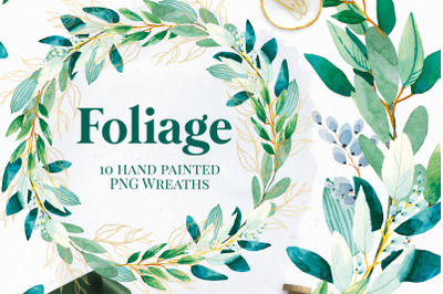 Foliage Wreaths - Green And Gold Invitation Graphics