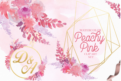 Peachy Pink Watercolor Floral Clip Art