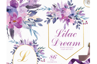 Lilac Dream - Watercolor Clip Art Set