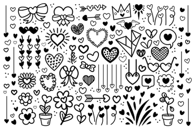 Cartoon Doodle Heart Clip Art Set