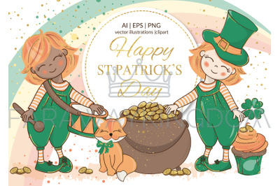 ST. PATRICK DAY Holiday Cartoon Vector Illustration Set for Print