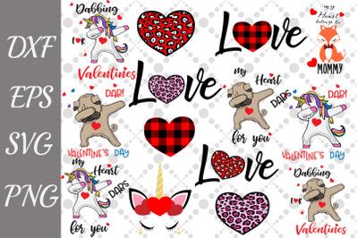 Valentine's Day Bundle Svg, VALENTINE'S UNICORN SVG, Dabbing Unicorn