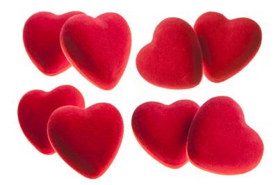 Red velvet heart isolated on white background