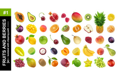 Collection of different exotic fruits and berries