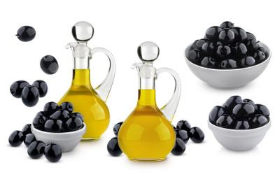 Olive oil and black olives