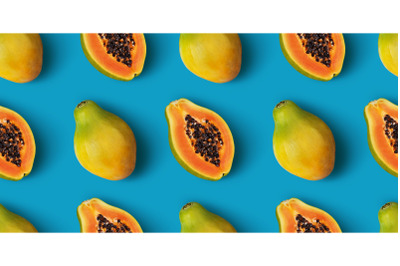 Papaya fruit seamless pattern