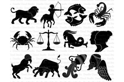 Astrology Sign SVG, Zodiac Sign SVG, 12 Illustrated Zodiac