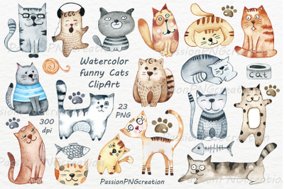 Watercolor funny Cats Clipart