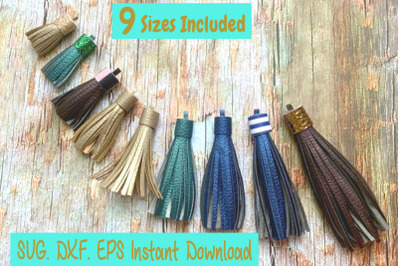9 Sizes Tassel Templates. Paper tassels. Faux leather Tassel