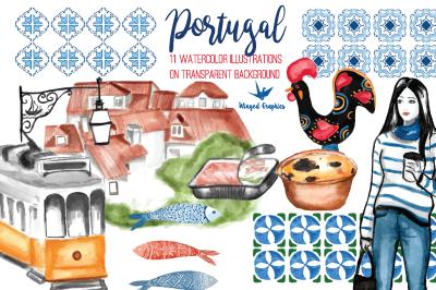 Portugal Watercolor Clipart