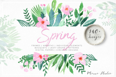 Spring Watercolor Florals & Leaves