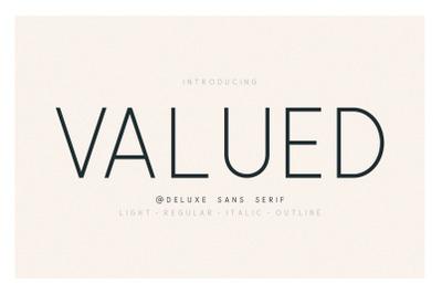 Valued - A Deluxu Sans Serif Family