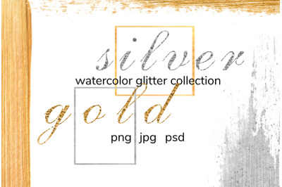Watercolor gold and silver glitter