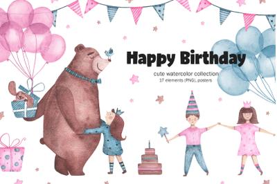 Happy Birthday - watercolor clipart