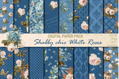 Shabby chic White Roses hand drawn seamless patterns