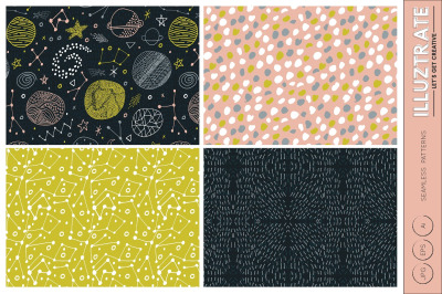 Space Seamless Vector Patterns - Digital Paper - Seamless Pattern