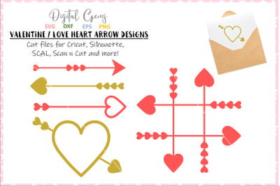 Heart and arrow designs