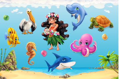 Little girl, sea animals, vector icons, sunny beach, tropic background