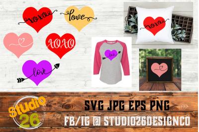 Valentine Hearts Bundle - Love XOXO - SVG PNG EPS
