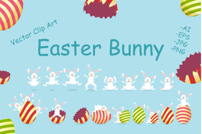 Easter Bunny and Egg Clip Art