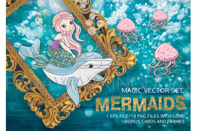 MERMAIDS Glitter Tropical Cartoon Vector Illustration Set for Print
