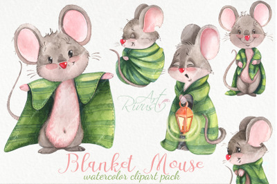Cute watercolor mouse clipart pack