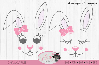 Easter bunny girl face, Bunny with ribbon face svg, Tumbler bunny svg,