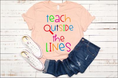 Teach Outside The Lines SVG Teacher Love english math science 1247s