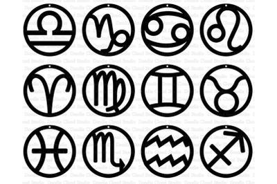 12 Zodiac Earrings Signs SVG, Earrings Astrology Sign SVG