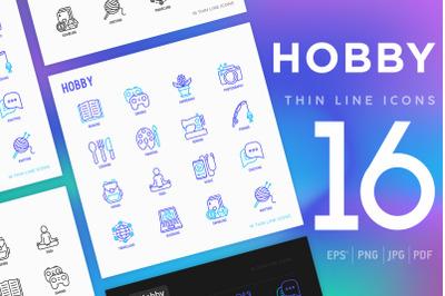 Hobby | 16 Thin Line Icons Set