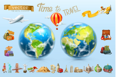 Travel, tourist attraction, vacation, planet Earth, 3d vector icon set