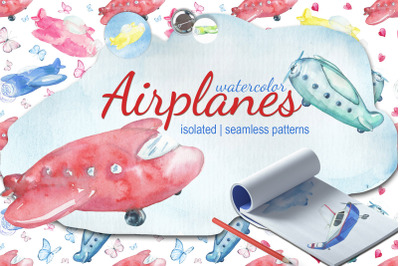 Watercolor Kid's airplanes clipart, patterns