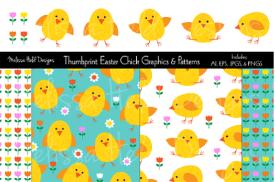 Thumbprint Easter Chick Graphics & Patterns