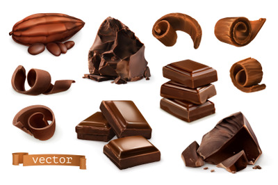 Chocolate pieces, shavings, spiral, cocoa fruit, 3d vector icons set