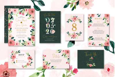 Sweet Floral Wedding Invitation Set