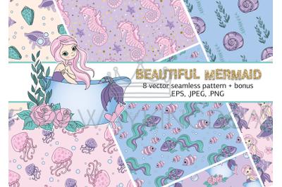 BEAUTY MERMAID Sea Ocean Cartoon Vector Illustration Seamless Pattern