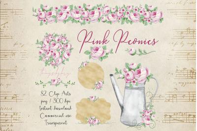 82 Romantic Pink Peony Clip Arts Peony Border Bouquet Garden Clip Arts