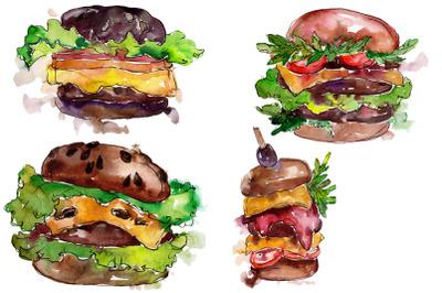 Hamburger Watercolor png
