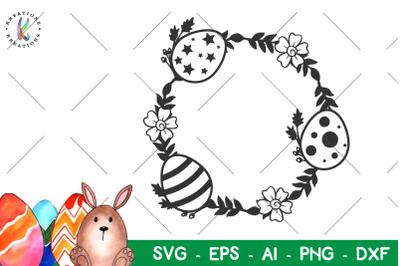 Happy Easter svg Easter wreath svg Monogram
