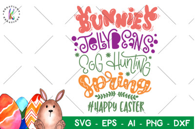 Easter svg Bunnies Jelly Beans Egg Hunting Spring Happy Easter